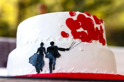 Wedding Cake on blurry background